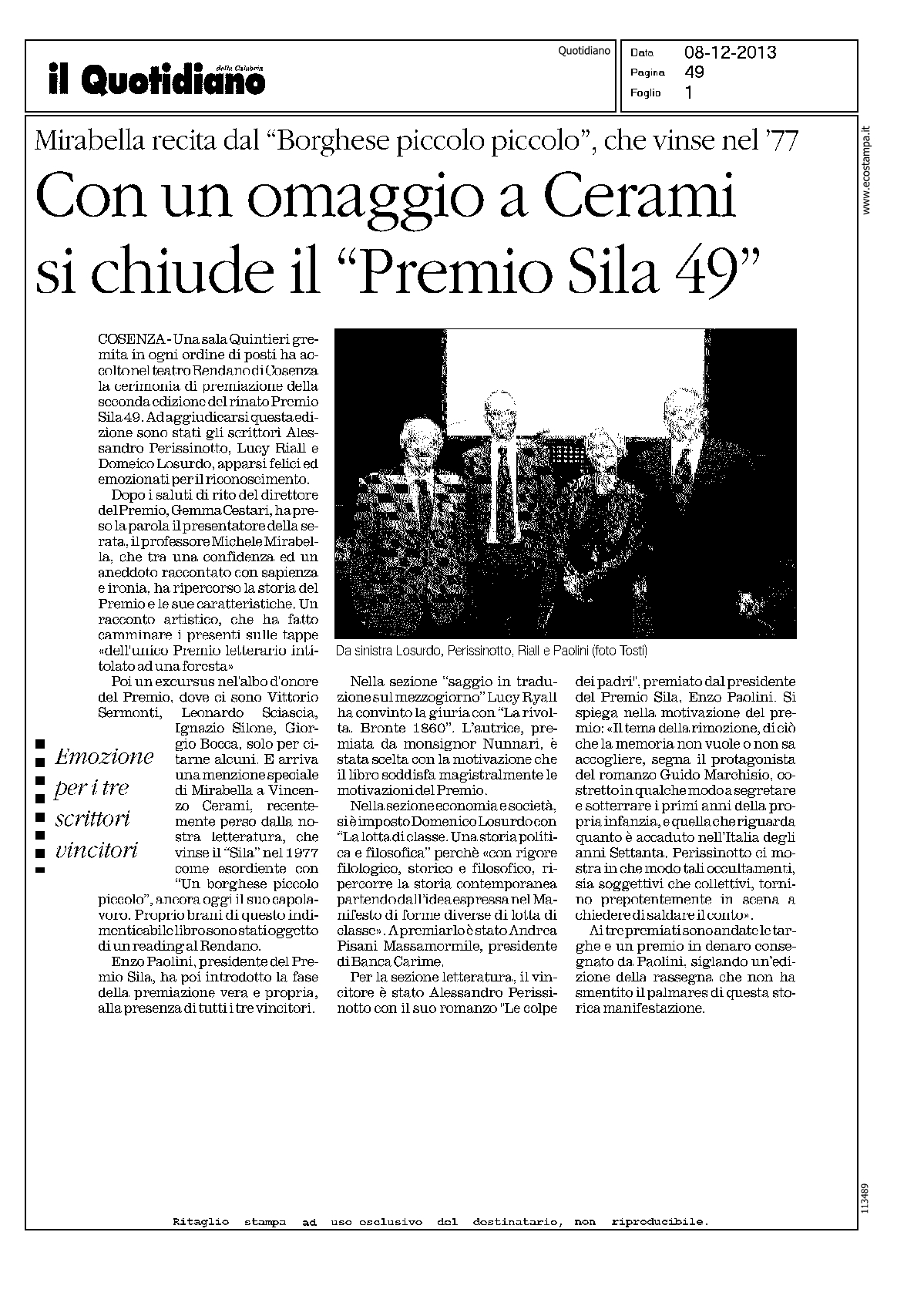 Il Quotidiano - PremioSila 2013